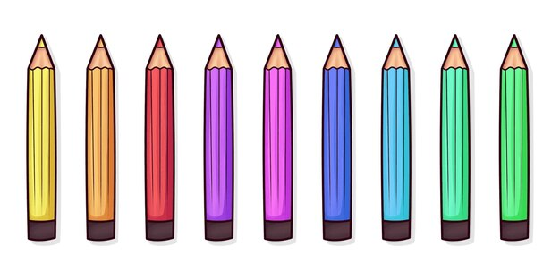 Ensemble de crayons de couleur mignons