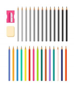 Ensemble de crayons de couleur et en niveaux de gris