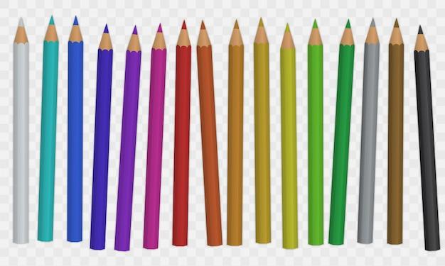 Ensemble De Crayons De Couleur Vecteur Premium