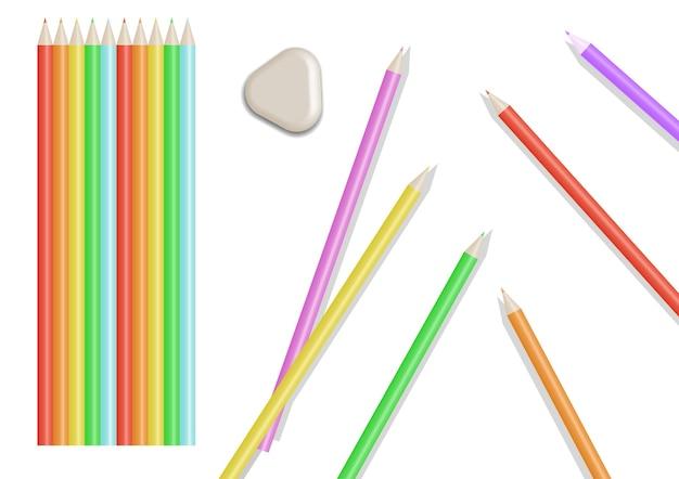 Un ensemble de crayons de couleurs vives. illustration isolée.