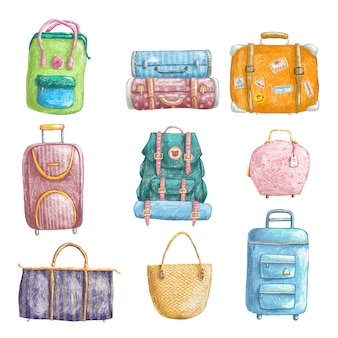 Ensemble de crayons dessinés à la main de sacs de voyage