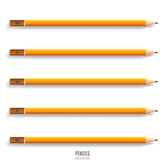 Ensemble de crayons jaunes aiguisés réalistes avec ombre isolé sur fond blanc. papeterie pour le dessin et le travail. illustration vectorielle