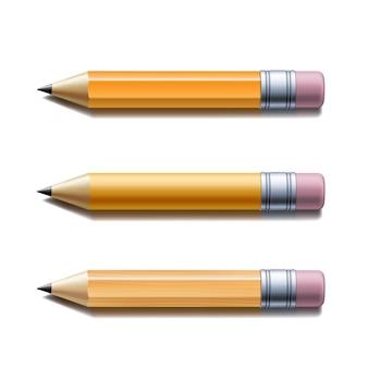Ensemble de crayons jaunes sur fond blanc.