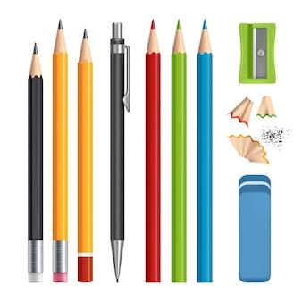 Ensemble de crayons, outils de papeterie aiguisés, crayons de couleur en bois avec gomme réaliste isolés