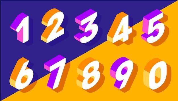 Ensemble créatif de vecteur de typographie de nombre isométrique sur fond de couleur vive