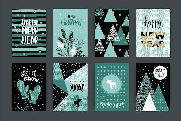 Ensemble de création artistique joyeux noël et nouvel an