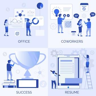 Ensemble de création d'équipe de réussite de collègues de bureau