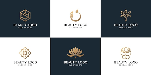 Ensemble de création de logo abstrait fleur dorée