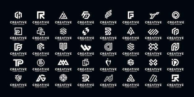 Ensemble de création de logo abstrait initial az.monogram, icônes pour les entreprises de luxe, élégant et aléatoire.