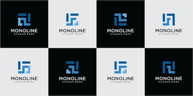 Ensemble de création de logo abstrait lettre f. création de logo en ligne mono lettre f. création de logo f