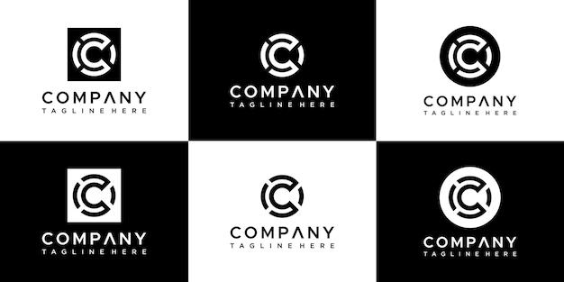Ensemble de création de logo abstrait monogramme lettre c.
