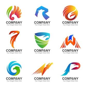 Ensemble de création de logo aigle