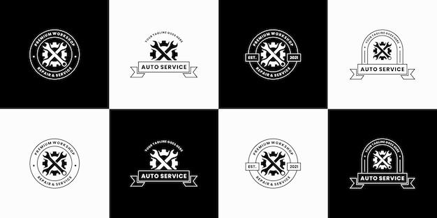 Ensemble de création de logo d'atelier d'insigne vintage. réparer, mécanicien, reconstruire