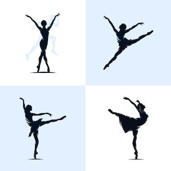Ensemble De Création De Logo De Ballet Vecteur Premium