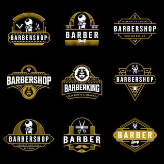 Ensemble de création de logo barbershop. illustration de lettrage vintage sur fond sombre.