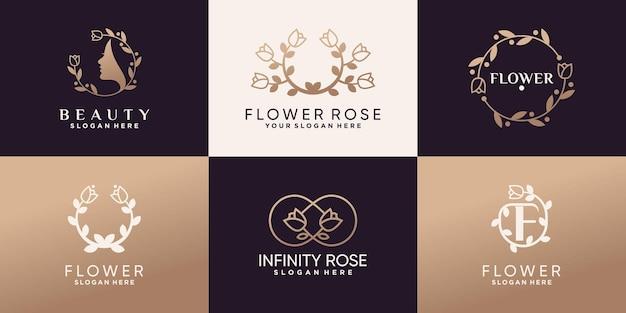 Ensemble de création de logo de beauté et de fleurs roses avec un style linéaire et un concept créatif unique vecteur premium