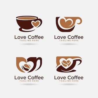Ensemble de création de logo de café d'amour