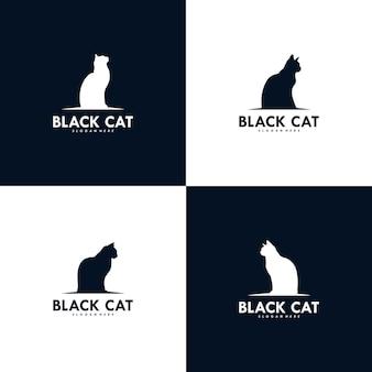 Ensemble de création de logo de chat noir