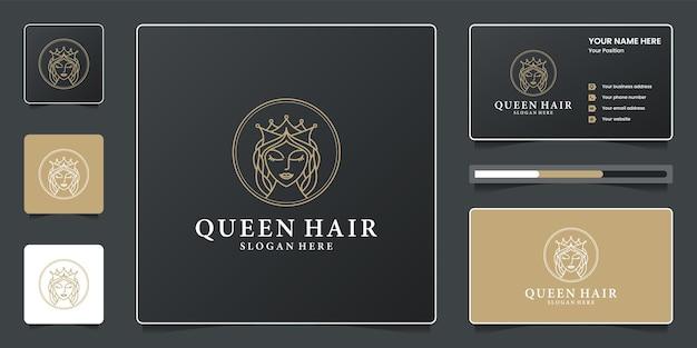 Ensemble de création de logo de cheveux reine