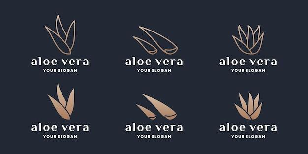 Ensemble de création de logo de collections d'aloe vera avec couleur dorée