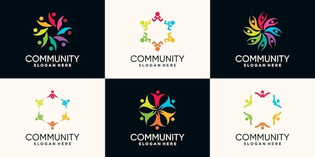Ensemble de création de logo de communauté avec concept créatif vecteur premium