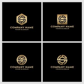 Ensemble de création de logo créatif monogramme lettre s