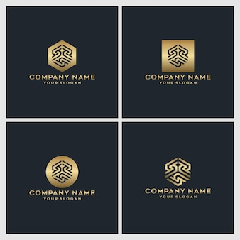 Ensemble de création de logo créatif monogramme or lettre s