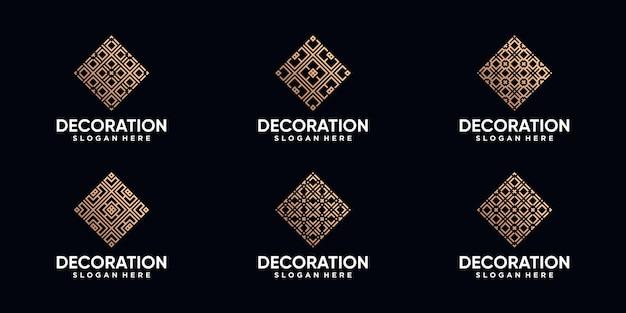 Ensemble de création de logo de décoration avec dessin au trait et couleur de style doré