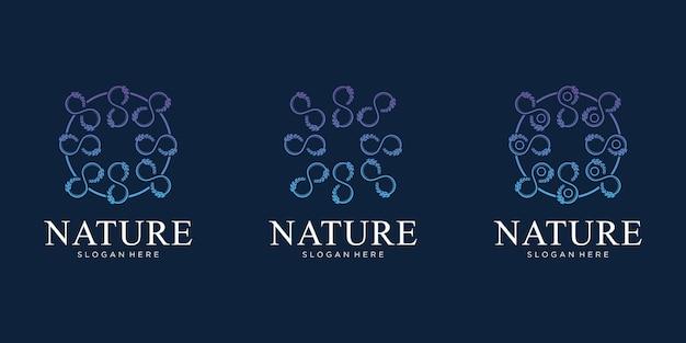 Ensemble de création de logo de fleur nature