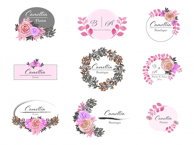 Ensemble de création de logo floral premade