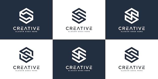 Ensemble de création de logo hexagonal lettre initiale s