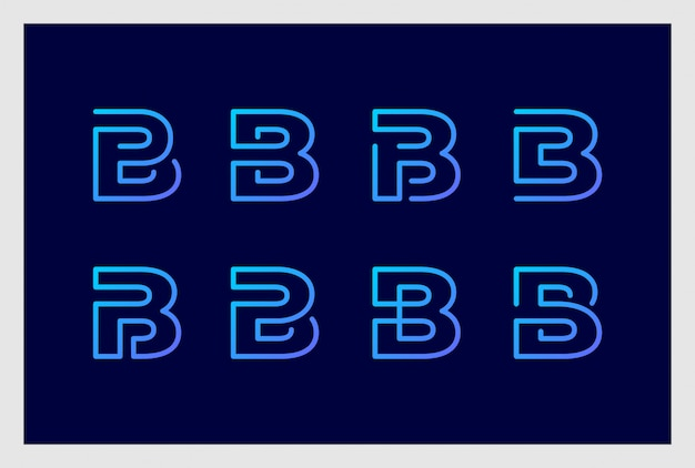 Ensemble de création de logo lettre b en vecteur premium de style art en ligne. les logos peuvent être utilisés pour les affaires, la marque, l'identité, l'entreprise, l'entreprise.