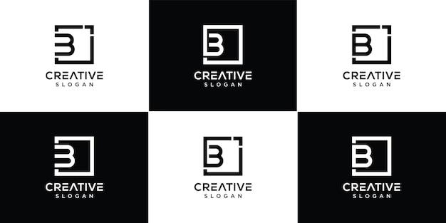 Ensemble de création de logo lettre b vecteur premium