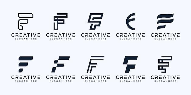 Ensemble de création de logo lettre f moderne