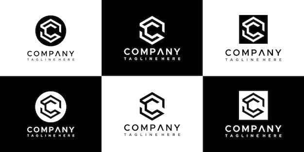 Ensemble de création de logo lettre c initiales créatives