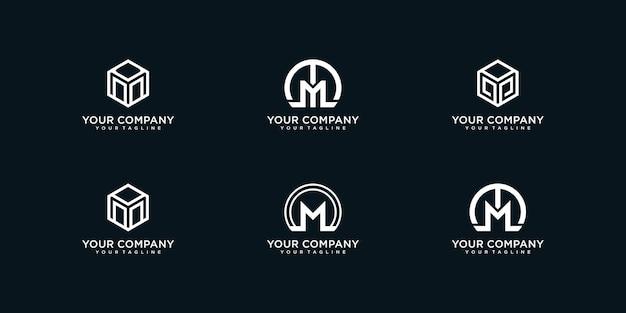 Ensemble de création de logo lettre m pour entreprise, premium vektor