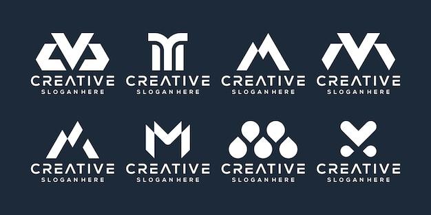 Ensemble de création de logo lettre m