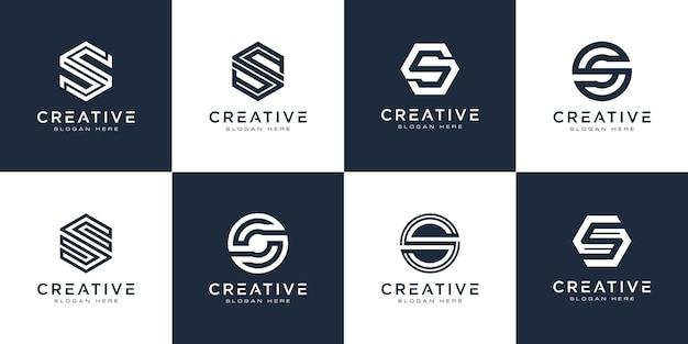 Ensemble de création de logo de lettre s initiales