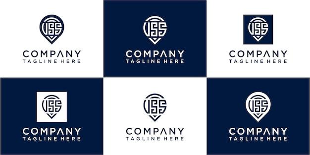 Ensemble de création de logo de lettre sos moogram moderne