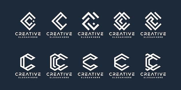 Ensemble de création de logo lettre c