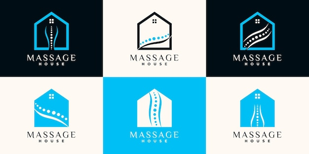 Ensemble de création de logo de maison de massage avec dessin au trait et concept d'espace négatif vecteur premium