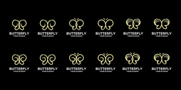 Ensemble de création de logo minimaliste papillon