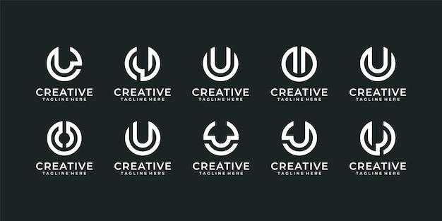 Ensemble de création de logo modifiable de typographie moderne lettre u