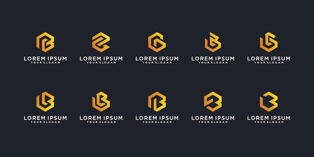 Ensemble de création de logo monogramme créatif lettre b premium vecto