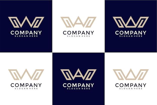 Ensemble de création de logo monogramme créatif lettre b
