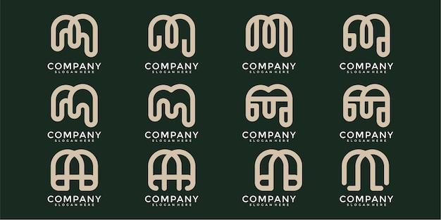 Ensemble de création de logo monogramme créatif lettre m