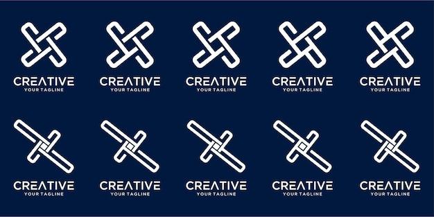 Ensemble de création de logo monogramme créatif lettre x