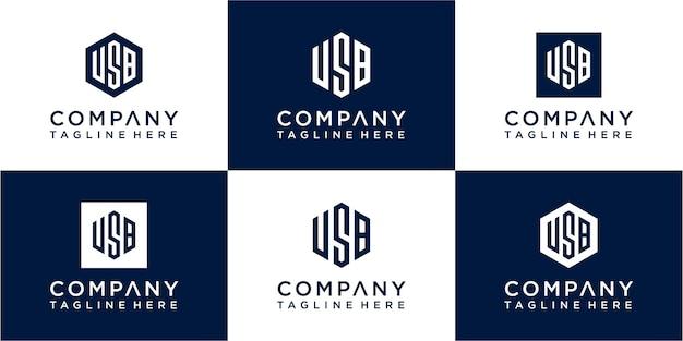 Ensemble de création de logo monogramme hexagonal créatif
