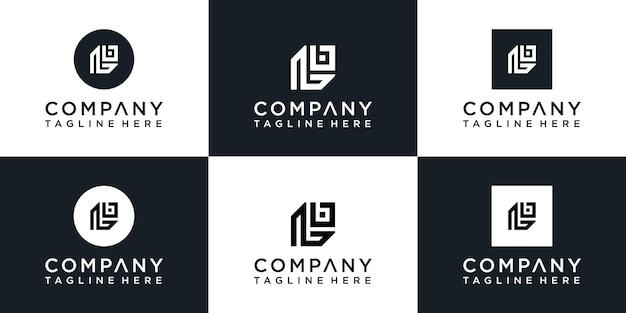 Ensemble de création de logo monogramme initial créatif l