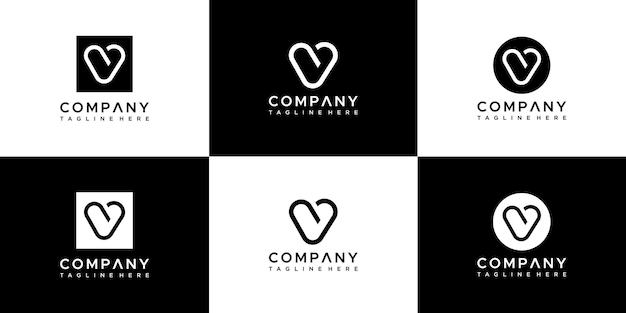 Ensemble de création de logo monogramme lettre v.